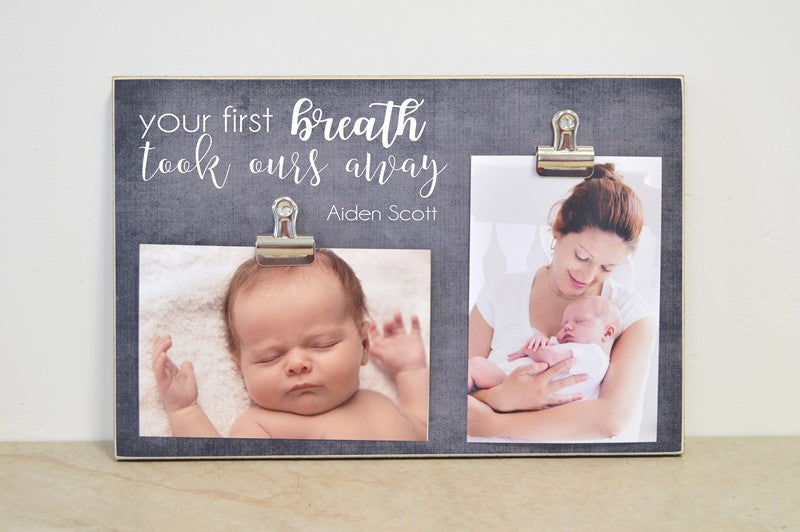 your first breath took ours away, pregnancy announcement or baby announcement baby shower gift
