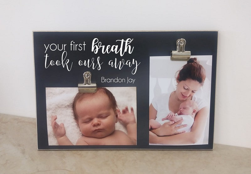 baby shower gift for new baby, your first breath took ours away photo frame for new baby shower gift
