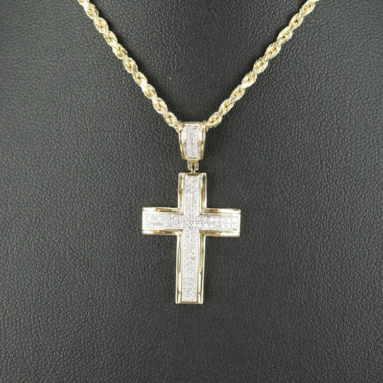 Gold & Diamond Small Cross Charm #17