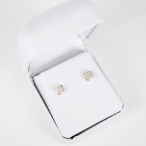 Gold & Diamond Baby Domed Square Earrings