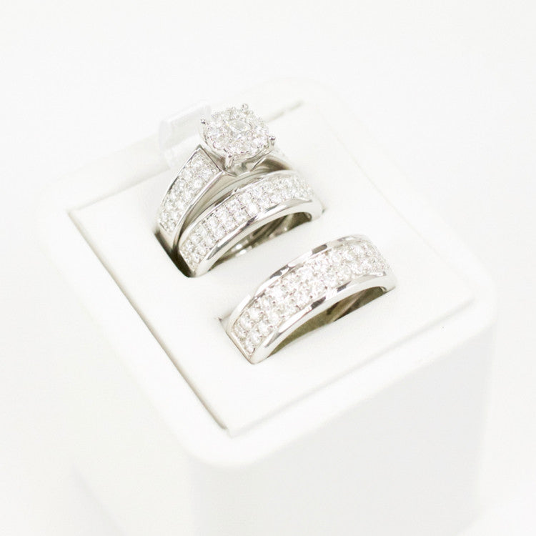 Gold & Diamond Trio Wedding Set #12