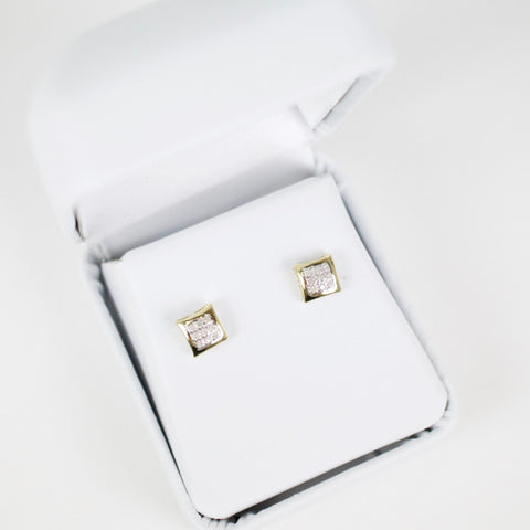Gold & Diamond Baby Domed Kite Earrings