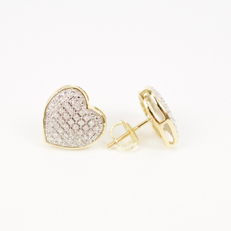 Gold & Diamond Medium-Large Domed Heart Earrings