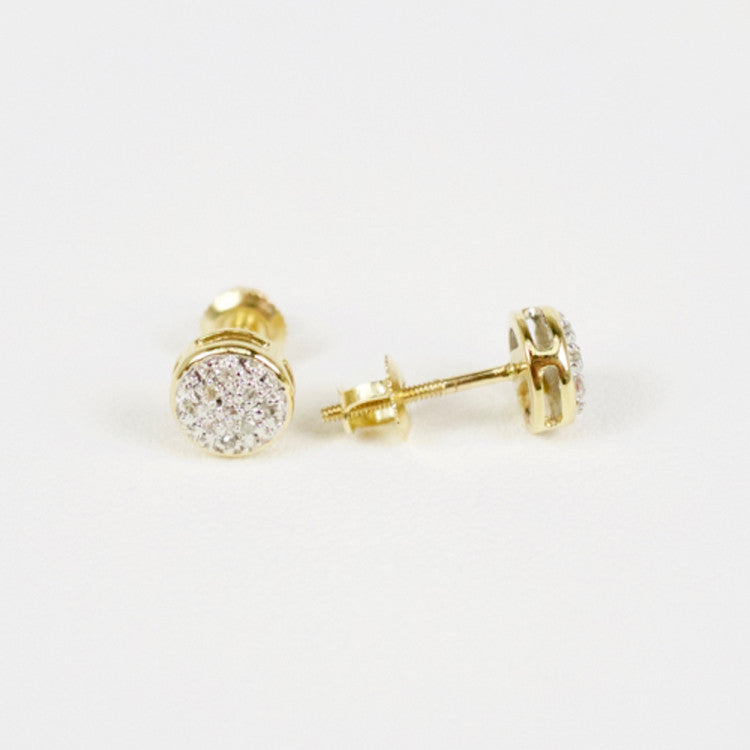 Gold & Diamond Baby Domed Circle Earrings