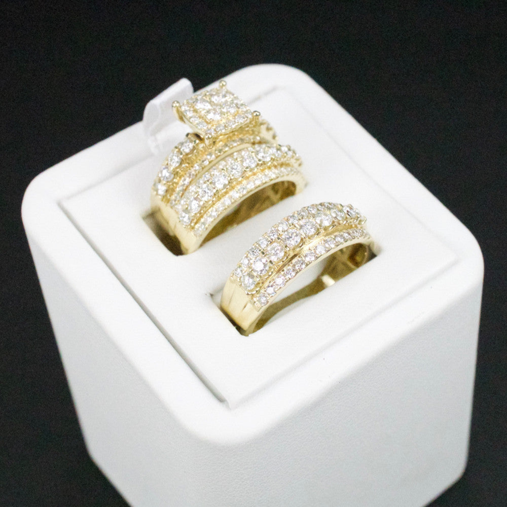 Gold & Diamond Trio Wedding Set #38