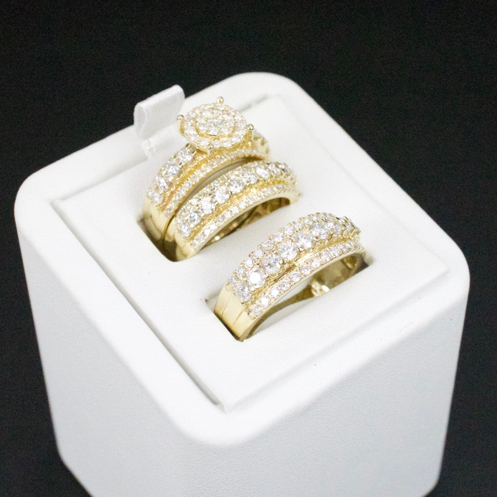 Gold & Diamond Trio Wedding Set #39