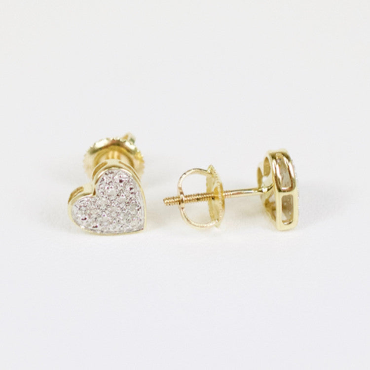 gold diamond baby domed heart earrings cadillac jewelry. Black Bedroom Furniture Sets. Home Design Ideas
