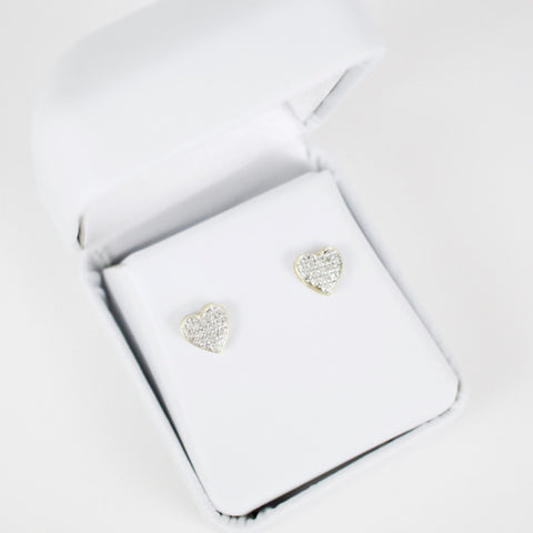 Gold & Diamond Baby Domed Heart Earrings