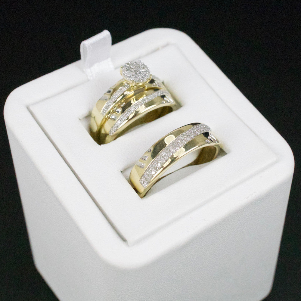 Gold & Diamond Trio Wedding Set #31