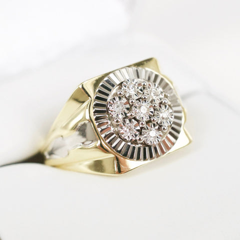 Gold & Diamond Mens Cluster Ring #1