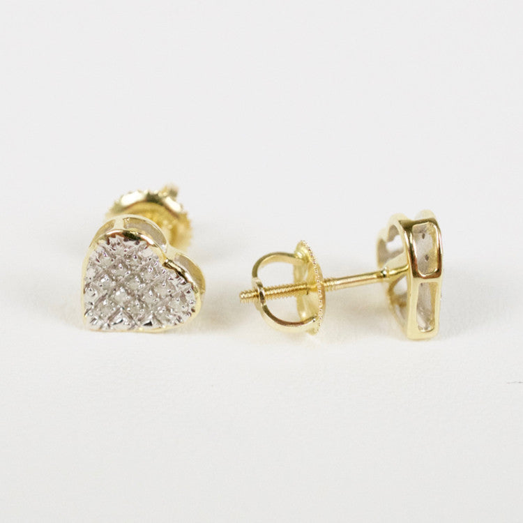 Gold & Diamond Small Cupped Heart Earrings