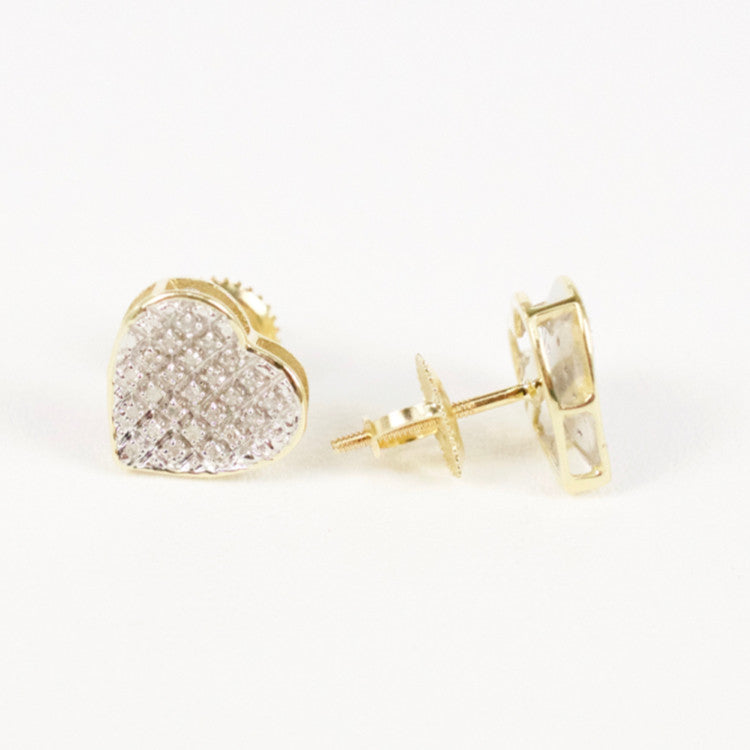 Gold & Diamond Medium Cupped Heart Earrings