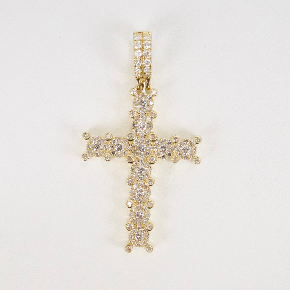 Gold & Diamond Medium Cross Charm #17