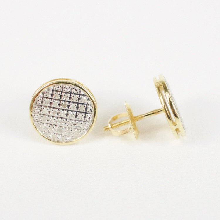 Gold & Diamond Medium Flat Circle Earrings