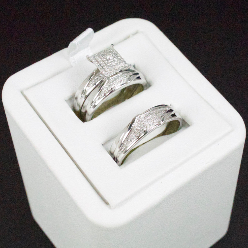 Gold & Diamond Trio Wedding Set #32