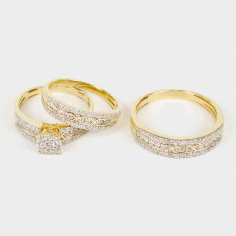 Gold & Diamond Trio Wedding Set #14