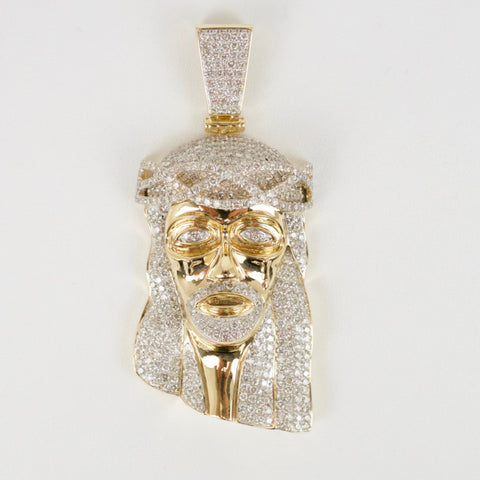 Gold & Diamond Large Jesus Charm #1