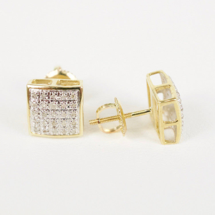 Gold & Diamond Medium Domed Square Earrings