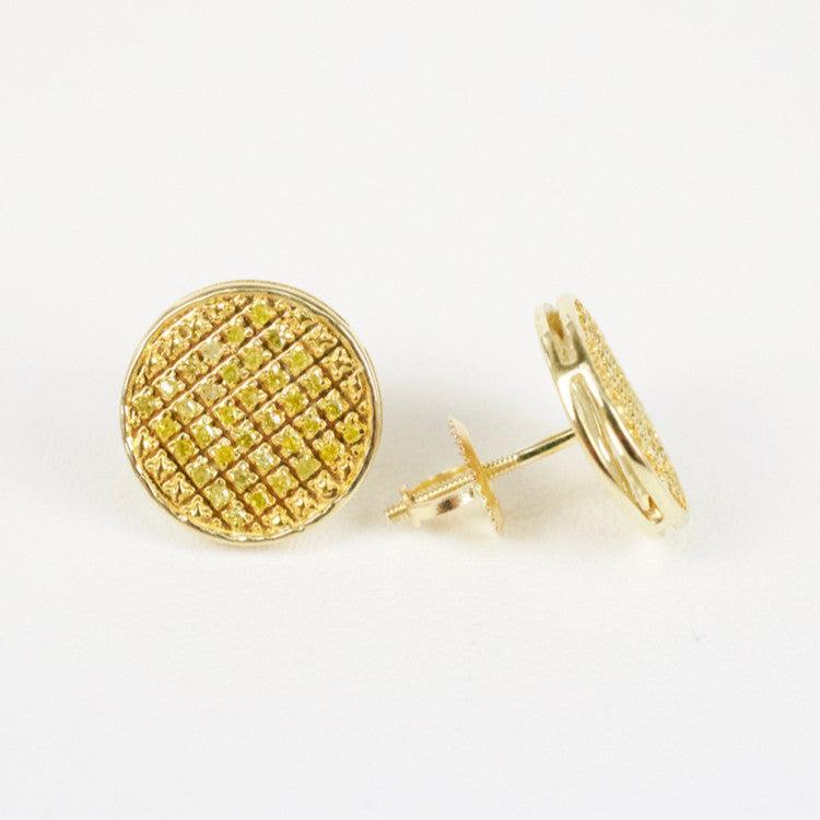 Gold & Diamond Medium-Large Flat Circle Earrings