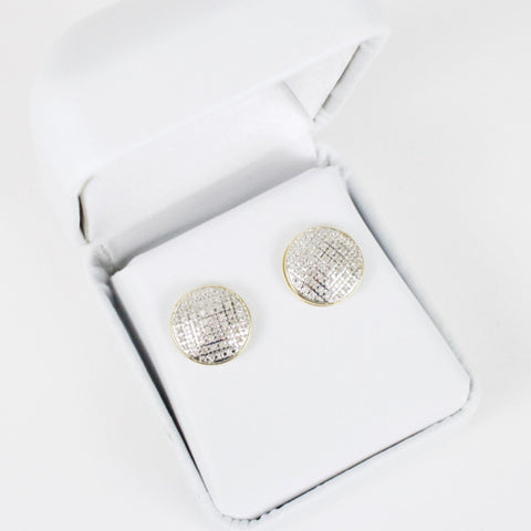Gold & Diamond Medium-Large Domed Circle Earrings