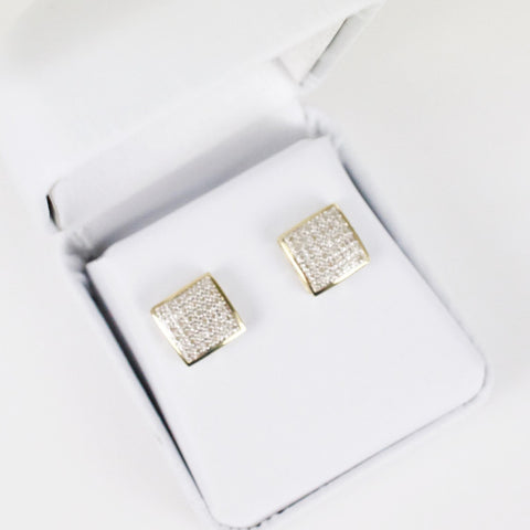 Gold & Diamond Medium-Large Domed Square Earrings