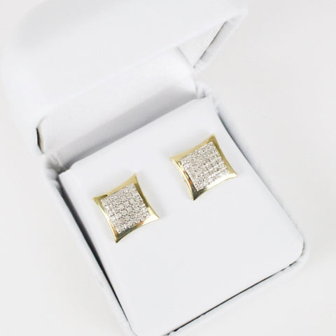 Gold & Diamond Medium-Large Domed Kite Earrings