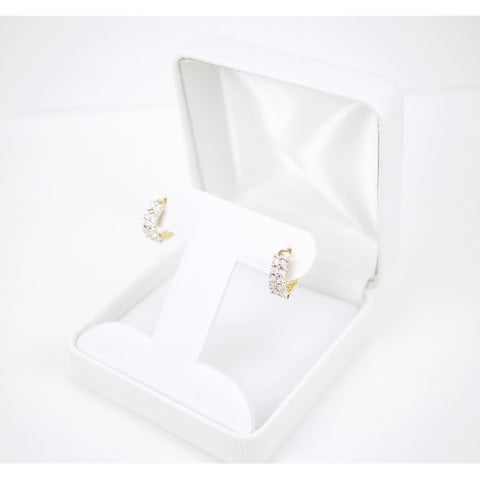 Gold & Diamond Ladies Hoop Earrings #1
