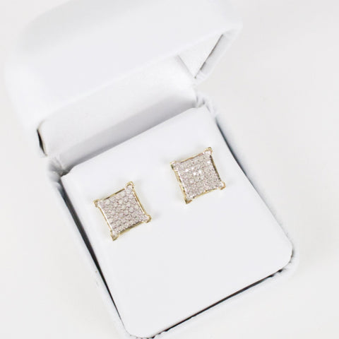Gold & Diamond Medium-Large Flat Square Earrings