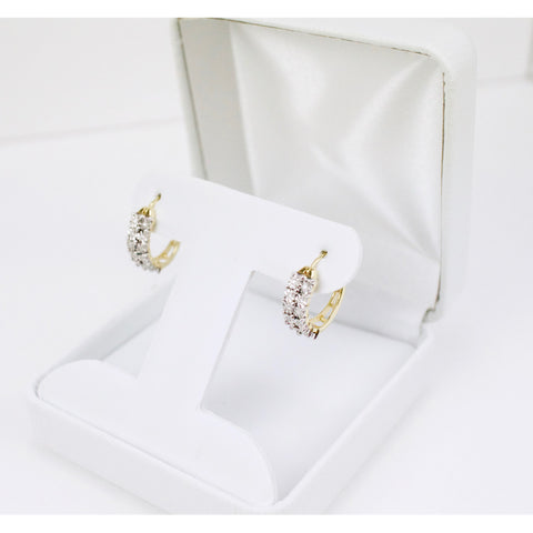 Gold & Diamond Ladies Hoop Earrings #2