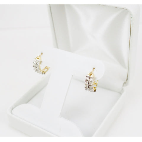 Gold & Diamond Ladies Hoop Earrings #3