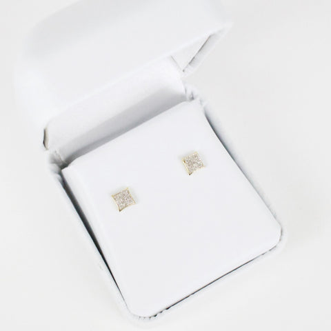 Gold & Diamond Baby Domed Kite Earrings Alt