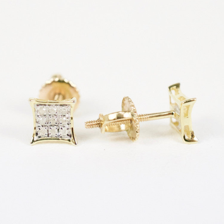Gold & Diamond Baby Cupped Kite Earrings