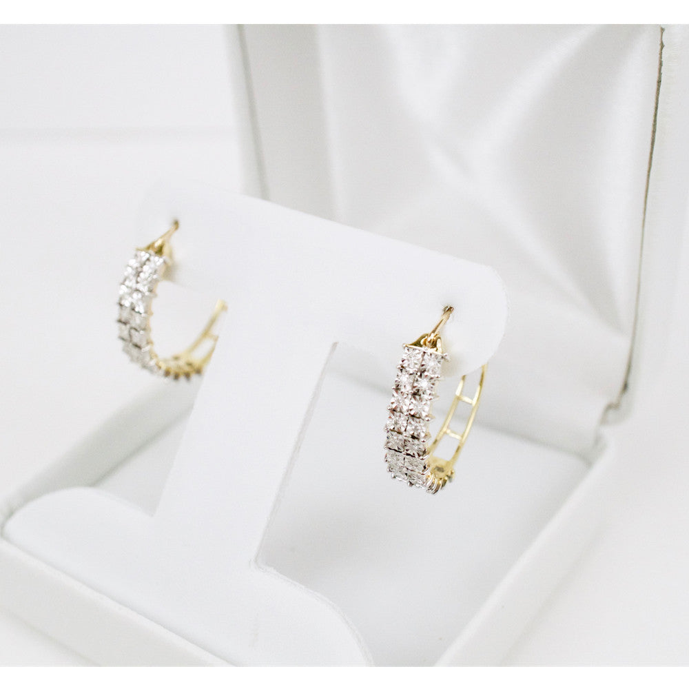 Gold & Diamond Ladies Hoop Earrings #5