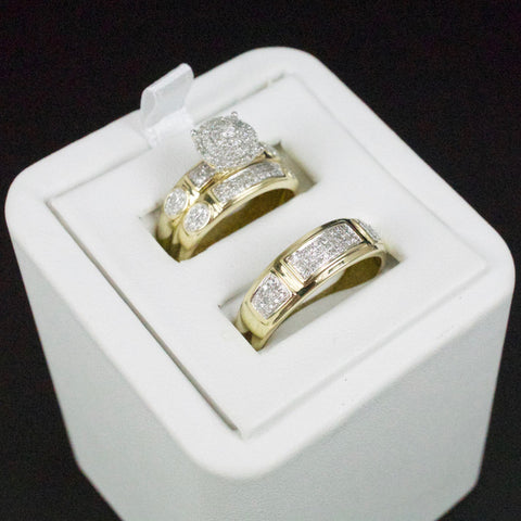 Gold & Diamond Trio Wedding Set #33