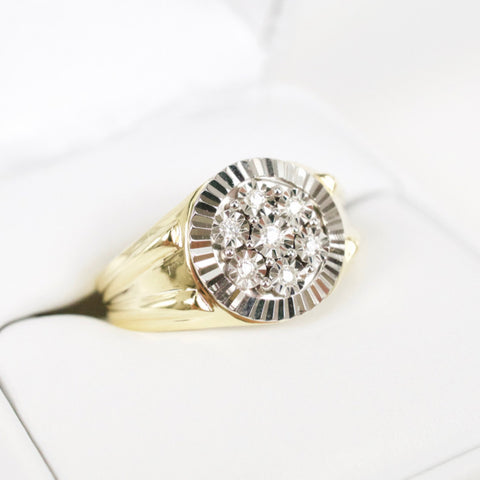 Gold & Diamond Mens Cluster Ring #3