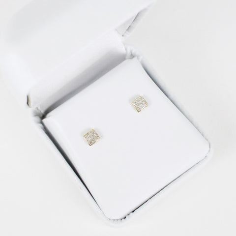 Gold & Diamond Baby Domed Square Earrings Alt