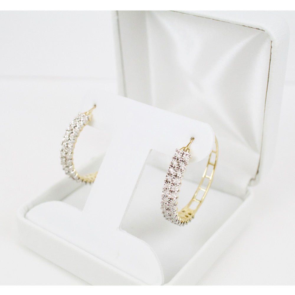 Gold & Diamond Ladies Hoop Earrings #6