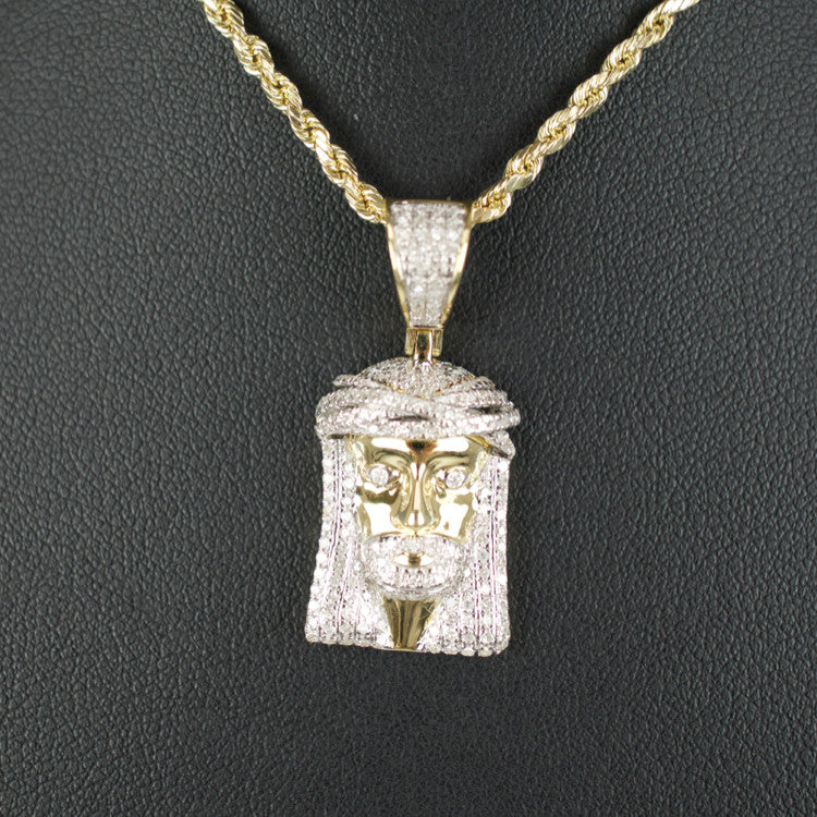Gold & Diamond Medium Jesus Charm #14