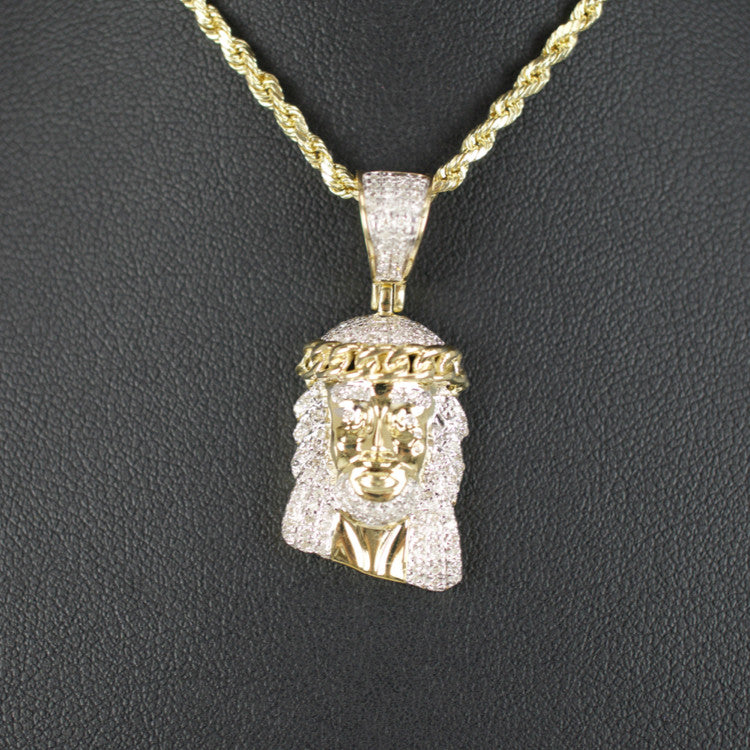 Gold & Diamond Medium Jesus Charm #16
