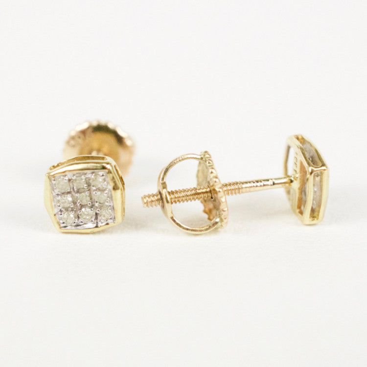 Gold & Diamond Baby Cupped Cushion Earrings