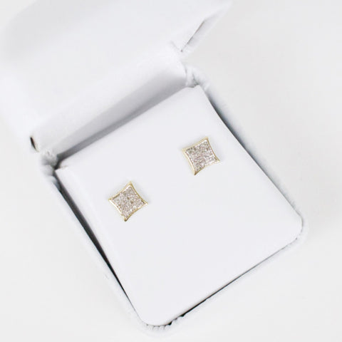 Gold & Diamond Baby Domed Kite Earrings Alt (Larger)