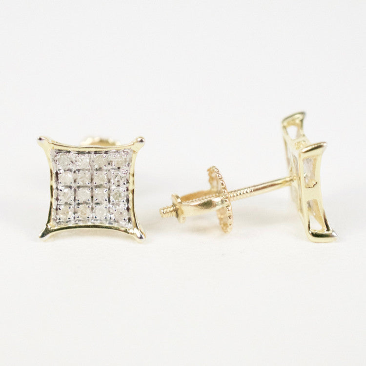 Gold & Diamond Baby Cupped Kite Earrings Alt (Larger)
