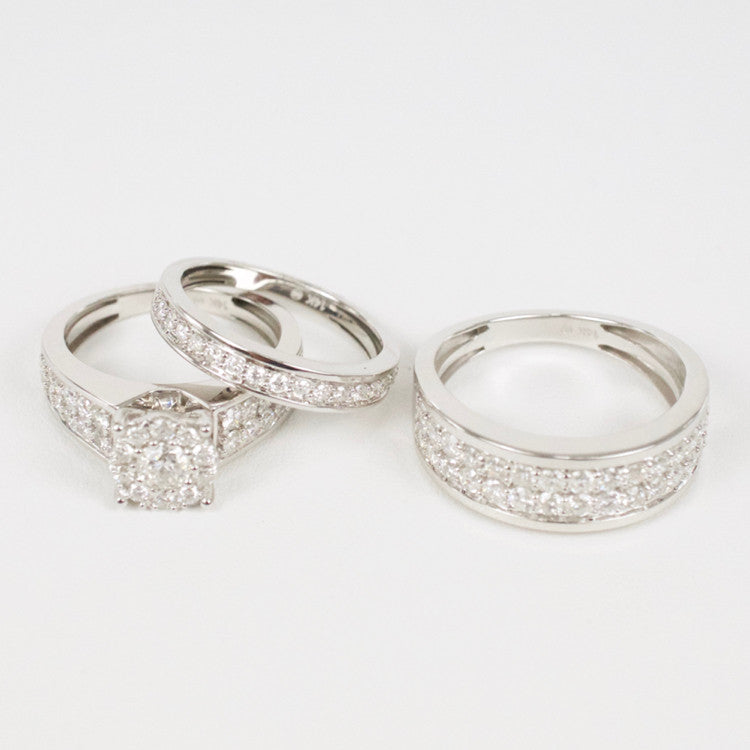 Gold & Diamond Trio Wedding Set #26