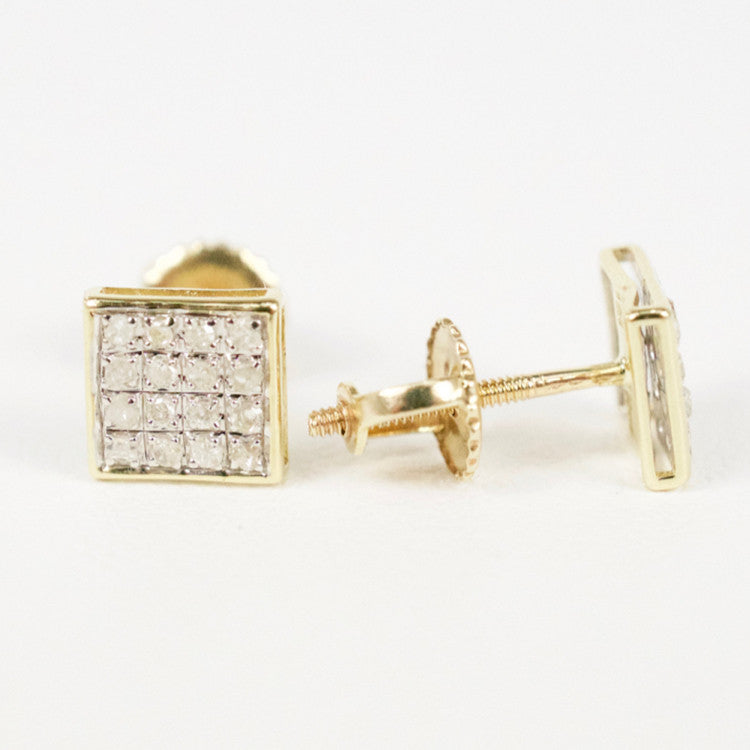 Gold & Diamond Baby Flat Square Earrings Alt (Larger)
