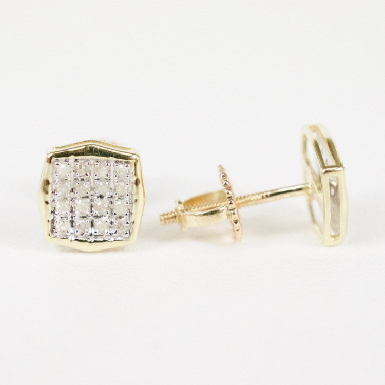 Gold & Diamond Baby Cupped Cushion Earrings (Larger)