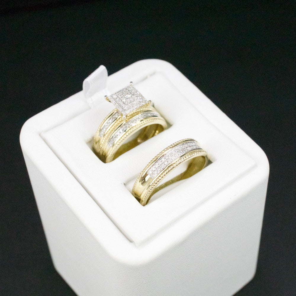 Gold & Diamond Trio Wedding Set #45