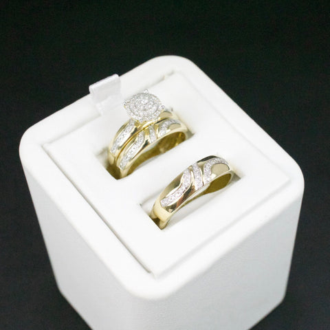 Gold & Diamond Trio Wedding Set #46
