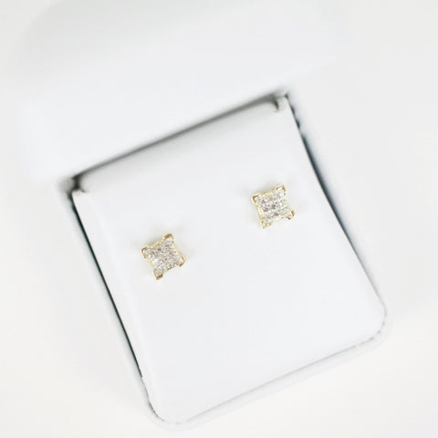 Gold & Diamond Baby Flat Square Earrings