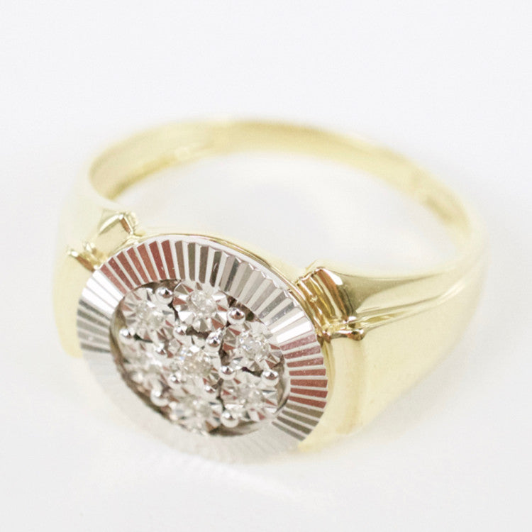 Gold & Diamond Mens Cluster Ring #4
