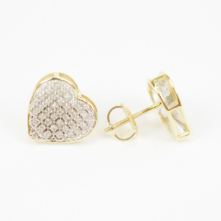 Gold & Diamond Medium-Large Cupped Heart Earrings